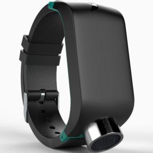 Billede af Sunu Band med ultralydssensoren pegende nedad, og med touchoverfladen i centrum.
