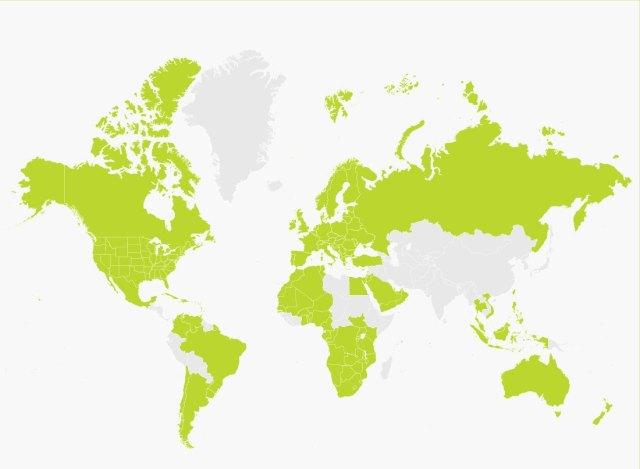 Billede af verdenskort med illustration af de lande som Victor Reader Trek understøtter.